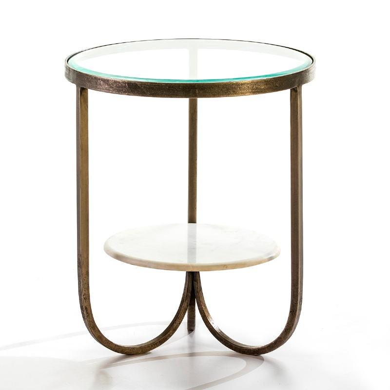 Hilfstisch 51X51X61 Glas/Metall/Marmor Golden/Weiß
