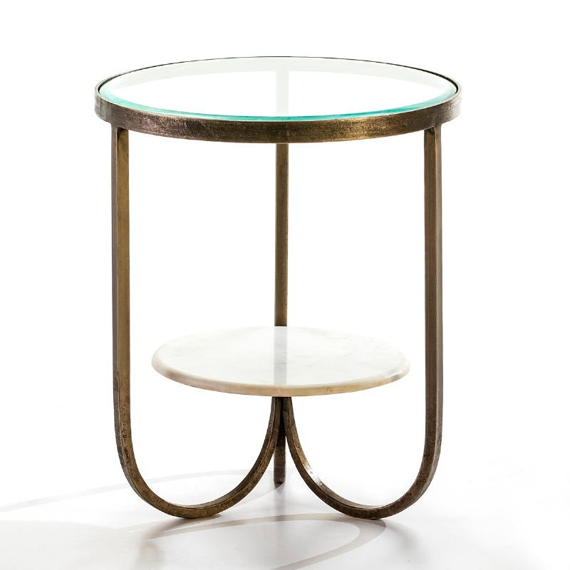 Side Table 51X51X61 Glass Metal Golden Marble White