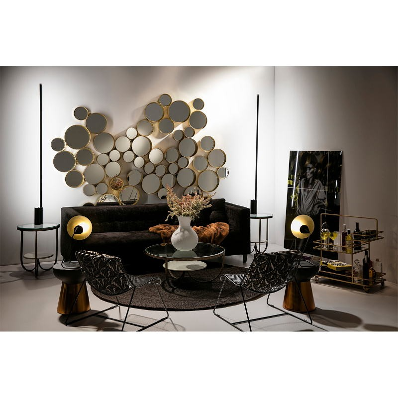 Side Table 51X51X61 Glass Metal Golden Marble White - image 53214