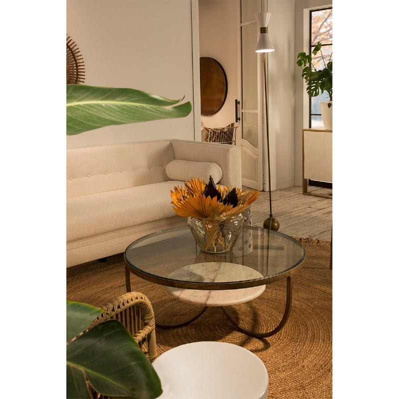 Coffee Table 92X92X40 Glass Metal Golden Marble White - image 53216