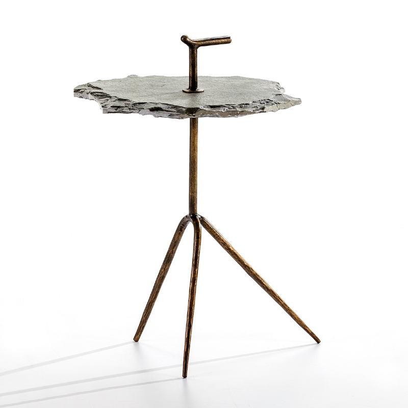 Table d'appoint, bout de canapé 52x48x70 Métal Doré Pierre Gris - image 53219