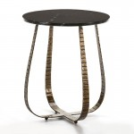 Side Table 50X50X62 Marble Black Metal Golden