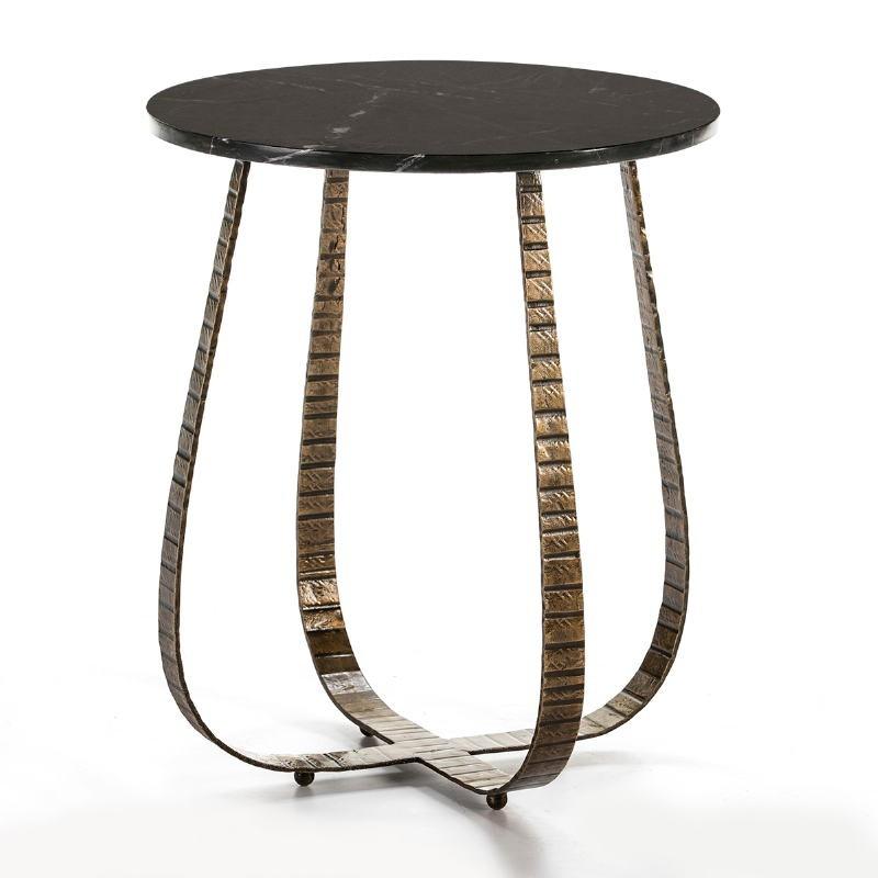 Table d'appoint, bout de canapé 50x50x62 Marbre Noir Métal Doré - image 53225