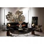 Table d'appoint, bout de canapé 40x40x43 Granit Noir Métal Doré Noir