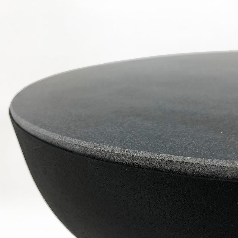 Side Table 40X40X43 Granite Black Metal Golden Black - image 53251