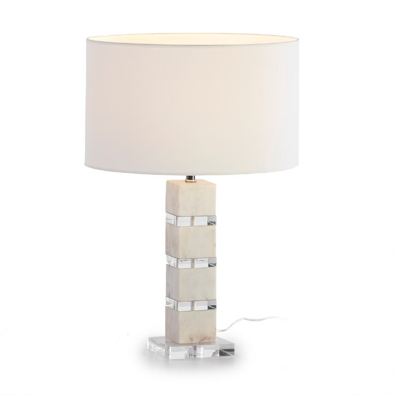 Table Lamp Without Lampshade 13X13X38 Acrylic Marble White