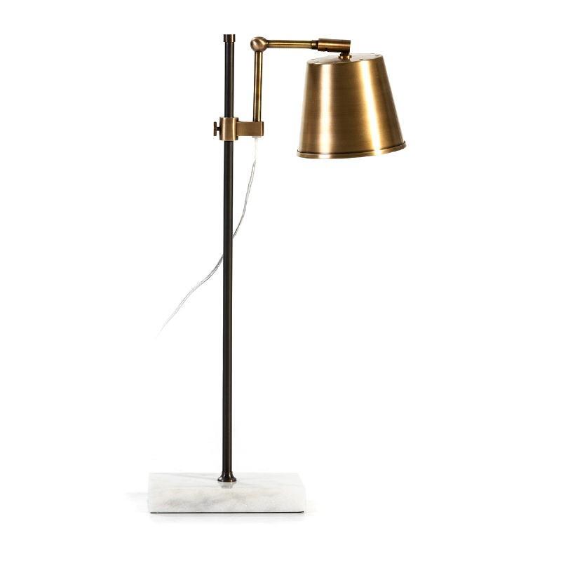 Lampe de Table 32x14x71 Marbre Blanc Métal Doré Noir - image 53264