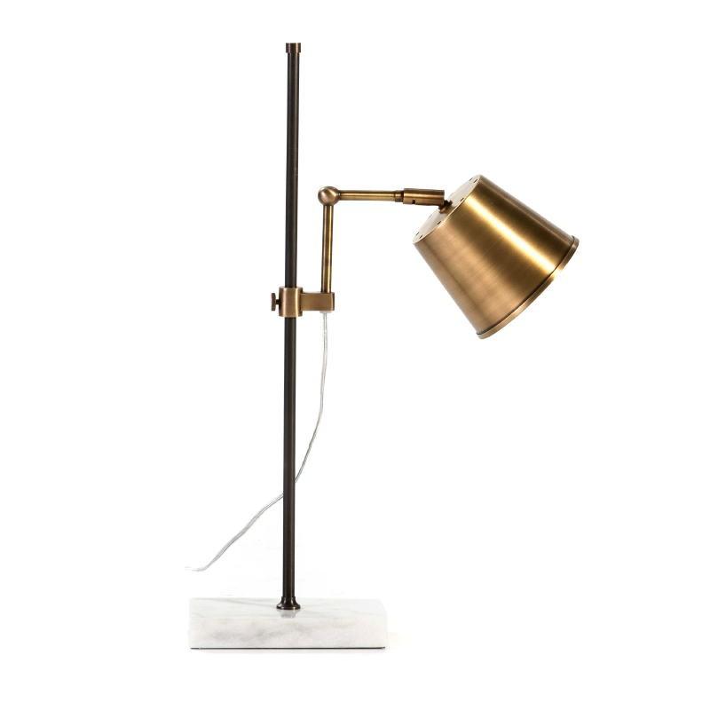 Lampe de Table 32x14x71 Marbre Blanc Métal Doré Noir - image 53265