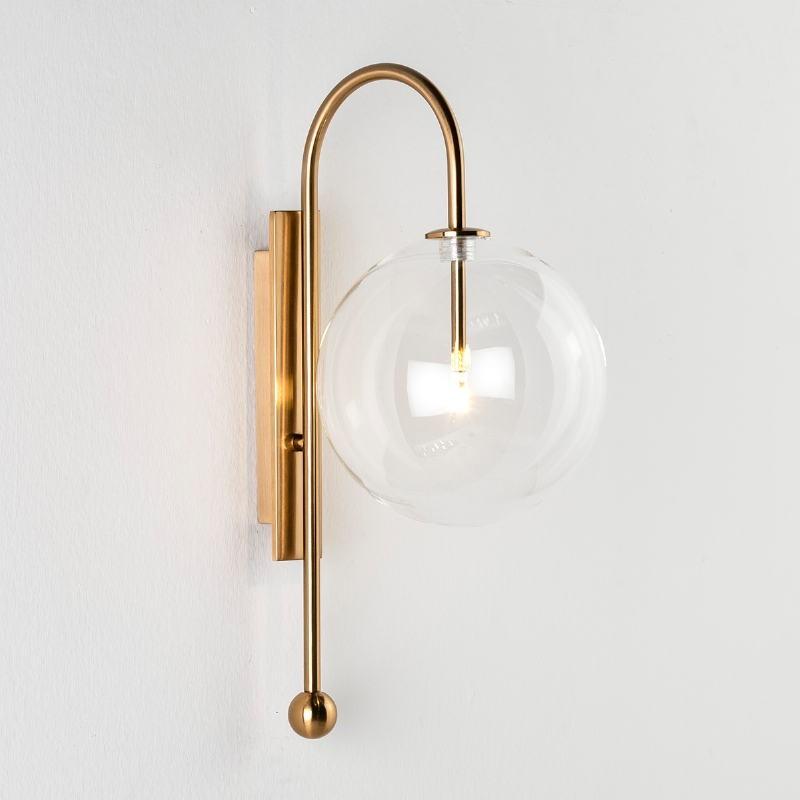 Wall Lamp 20X28X47 Glass Metal Golden - image 53283
