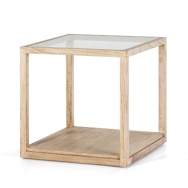 Beistelltisch, Beistelltisch 60X60X60 Glas Naturgebleichtes Holz