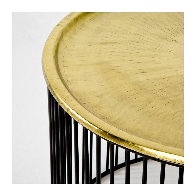 Table d'appoint, bout de canapé 56x56x42 Fer Noir Doré - image 53293