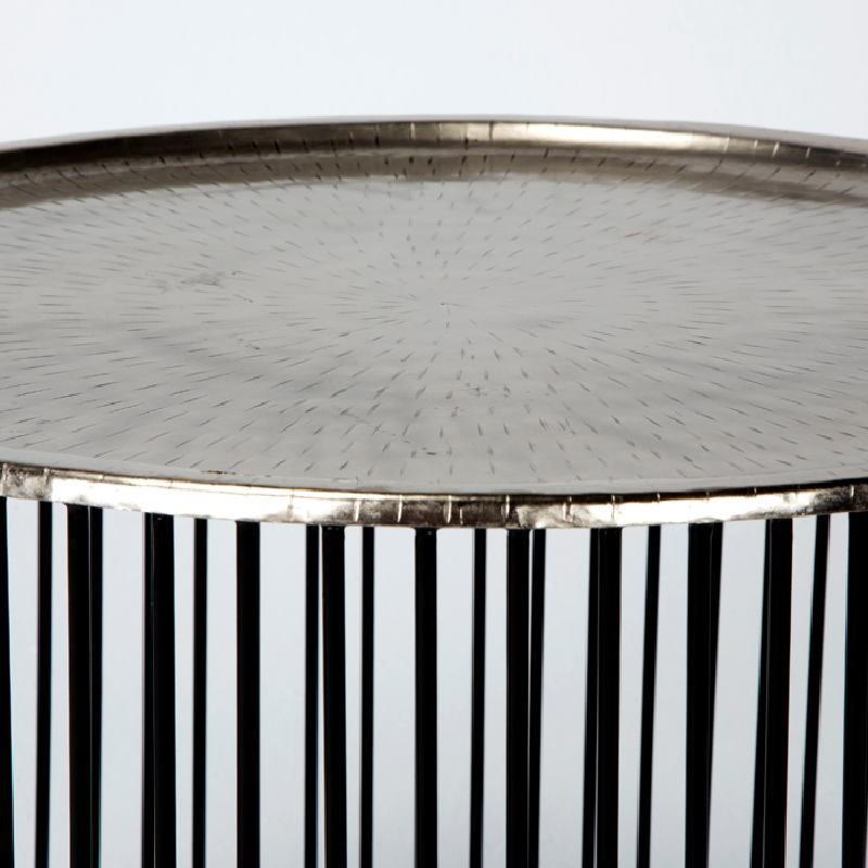 Table d'appoint, bout de canapé 56x56x42 Fer Noir Argent - image 53295