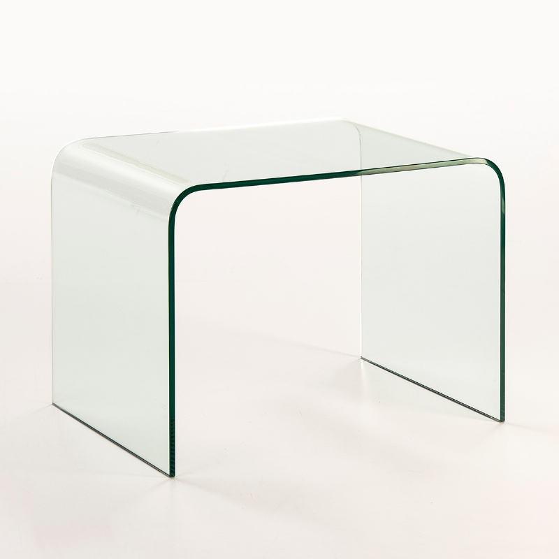 Table d'appoint, bout de canapé 60x45x45 Verre Transparent