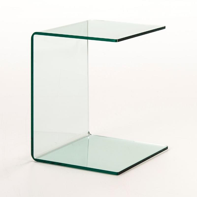 Table d'appoint, bout de canapé 40x40x53 Verre Transparent