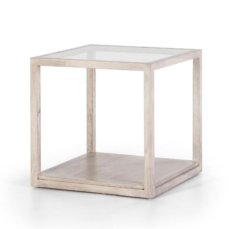 Table d'appoint, bout de canapé 60x60x60 Verre Bois Gris blanchi