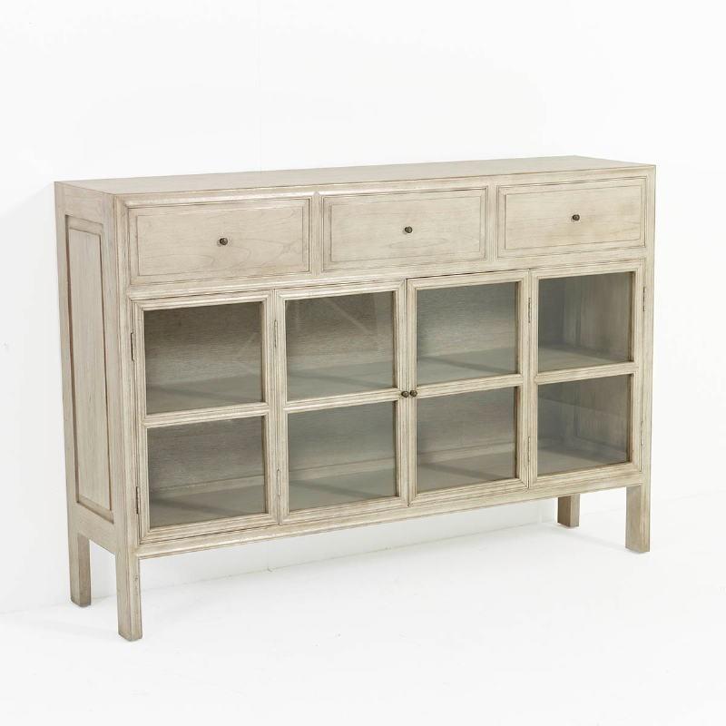 Sideboard 160X40X110 Glass Wood White Veiled