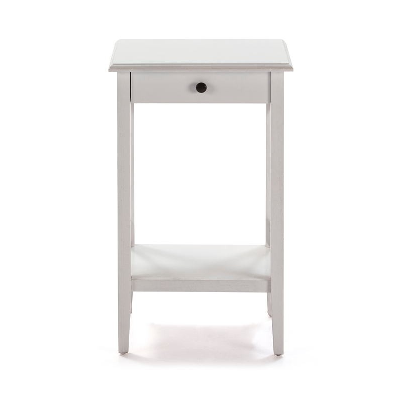 Bedside Table 42X35X70 Wood White - image 53336