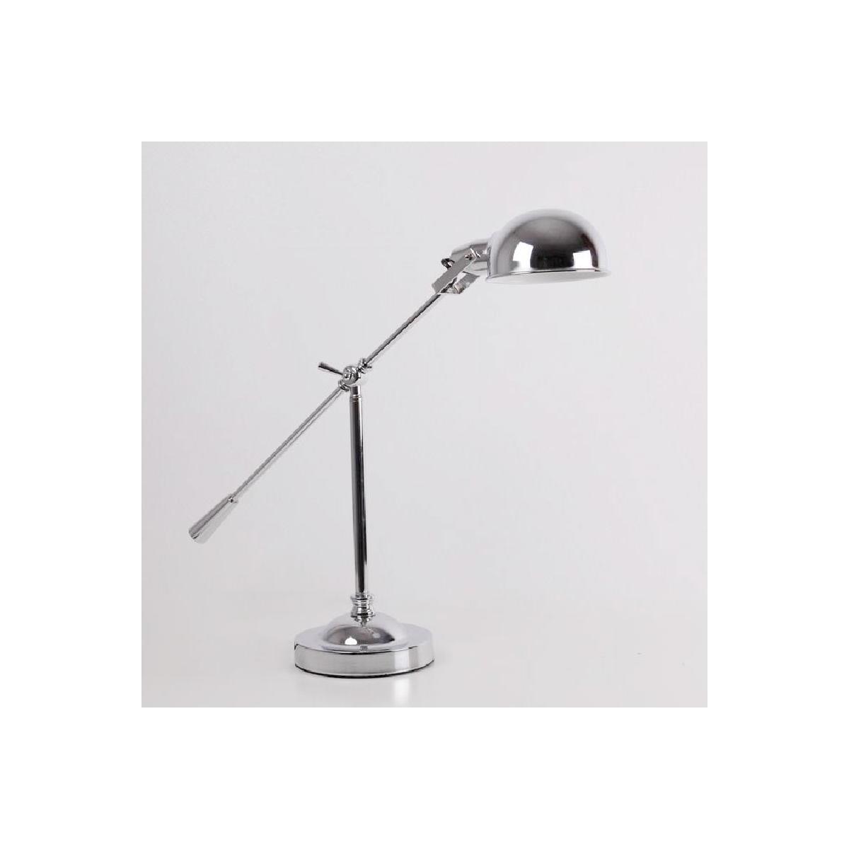 Lampada Da Tavolo Con Paralume 74x18x55 Metallo Cromato Amp Story 8285
