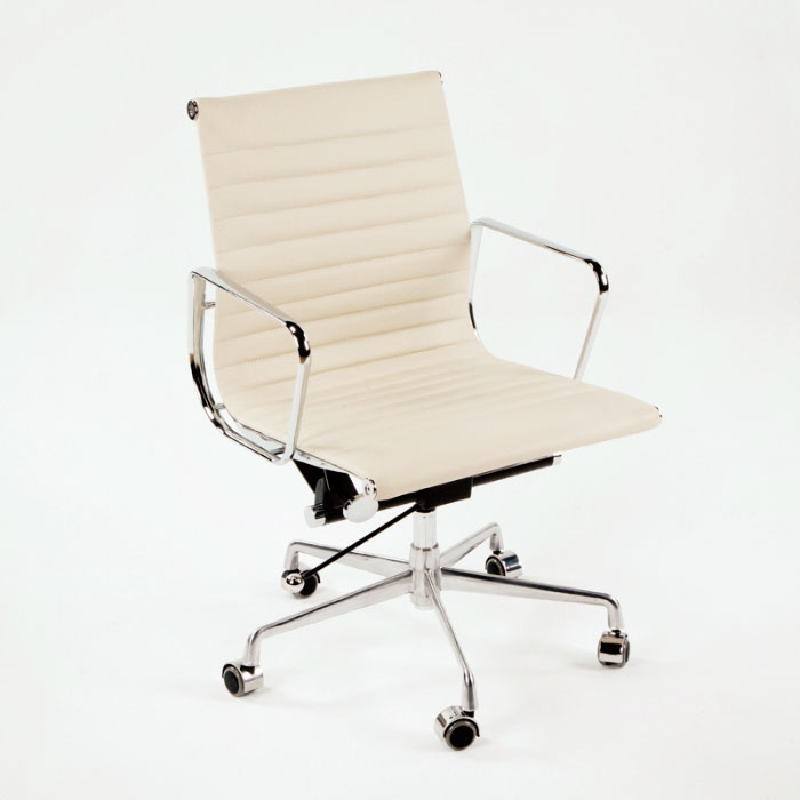 Chaise de Bureau Réglable 58x64x89 97 Métal Cuir Blanc cassé