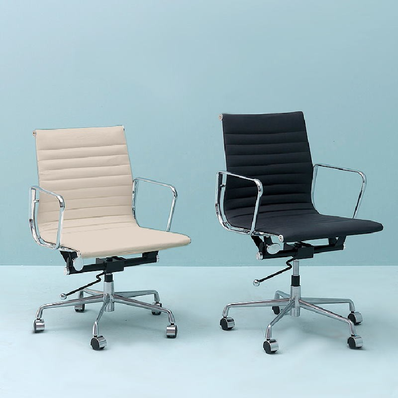 Office Adjustable Chair 58X64X89 97 Metal Leather Off-White - image 53402
