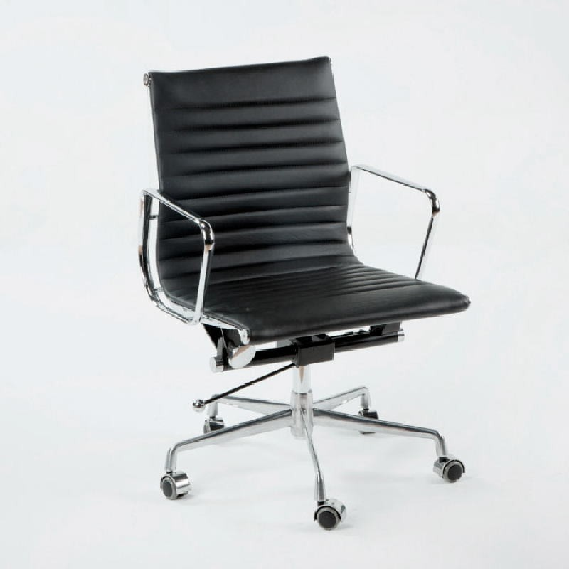 Office Adjustable Chair 58X64X89 97 Metal Leather Black