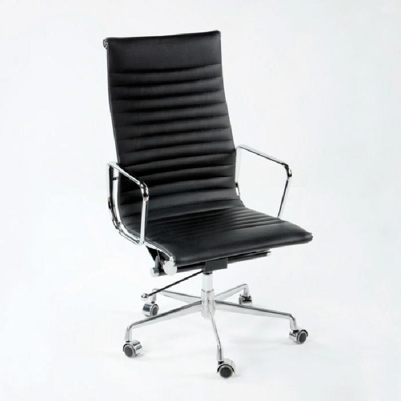 Chaise de Bureau Réglable 58x64x107 115 Métal Cuir Noir