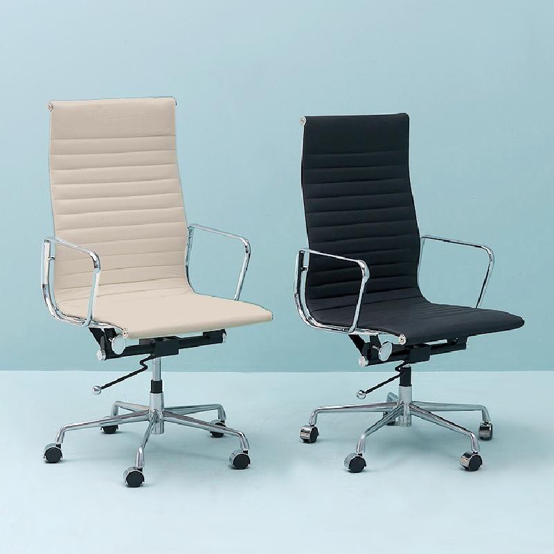 Verstellbarer Bürostuhl 58X64X107 115 Metall Schwarzes Leder - image 53414