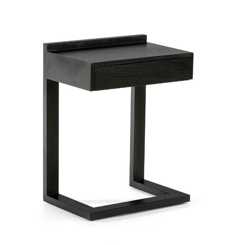 Bedside Table 50X35X66 Wood Black - image 53448
