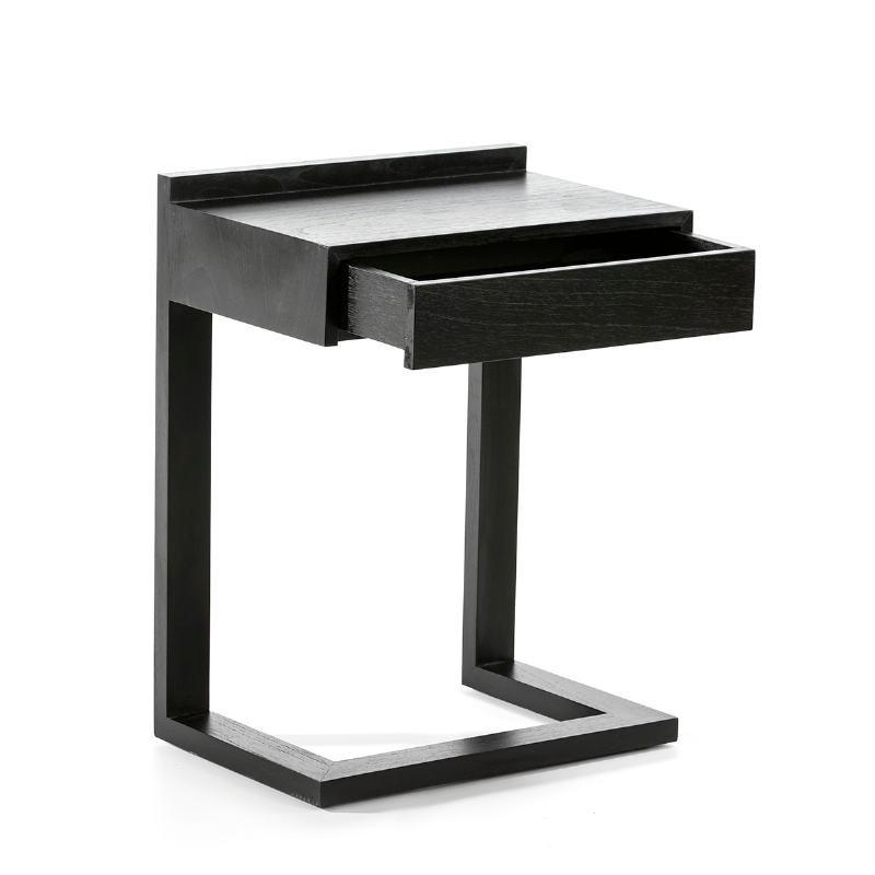 Bedside Table 50X35X66 Wood Black - image 53450