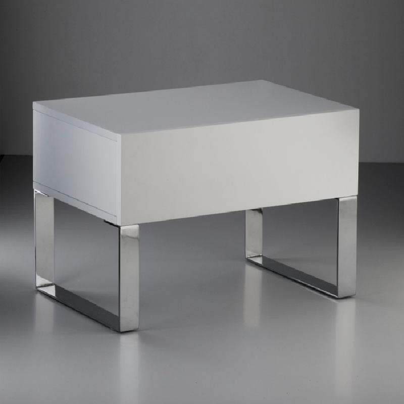 Nachttisch 63X40X44 Stahl/Mdf Weiß