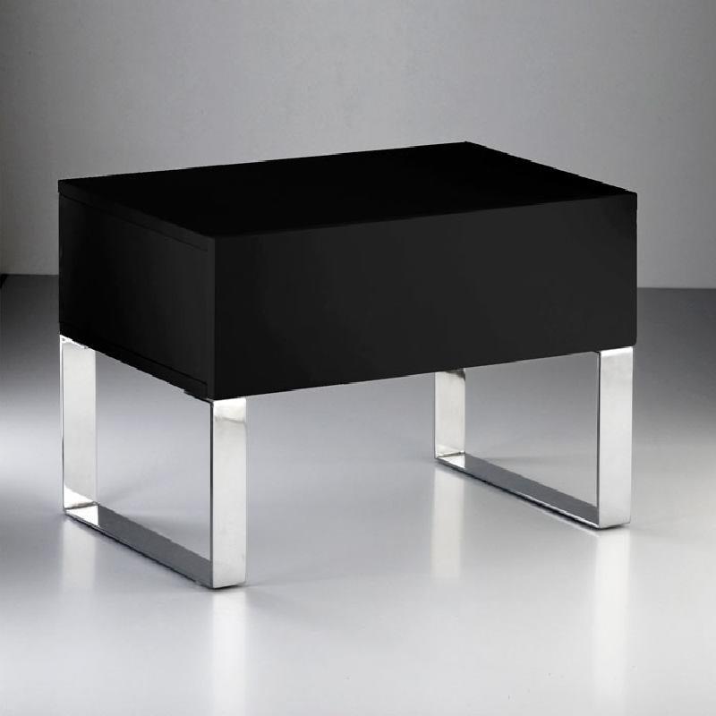 Bedside Table 63X40X44 Steel Mdf Black