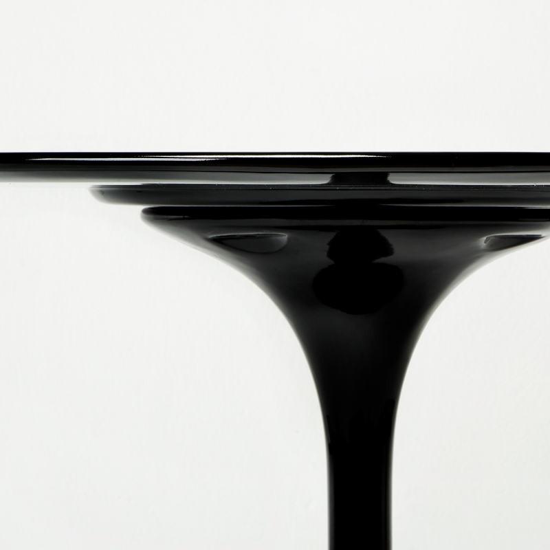 Table à Manger 120x120x75 Fibre de verre Noir - image 53486