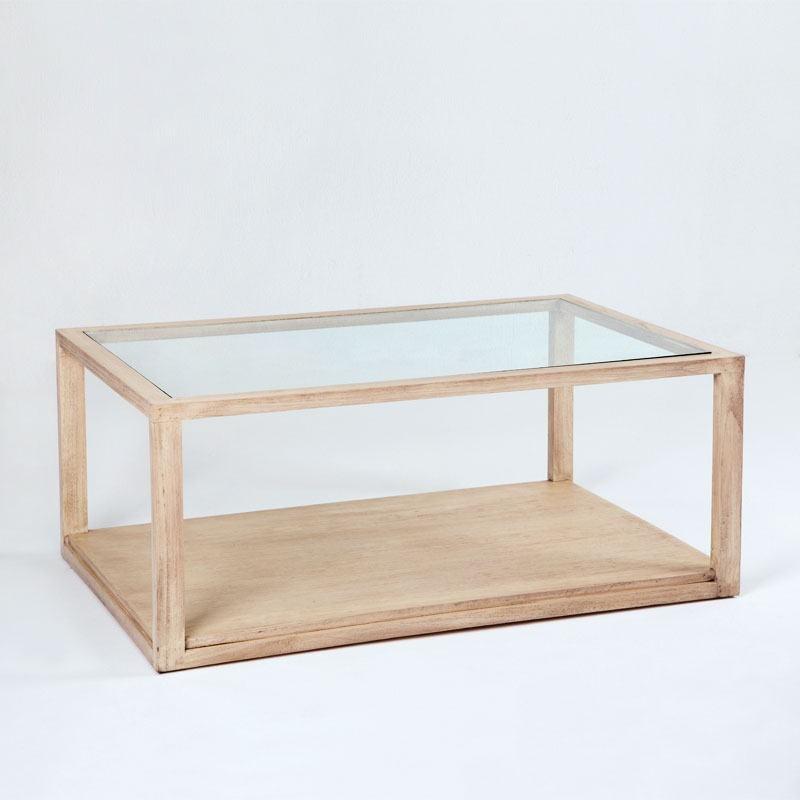 Coffee Table 110X70X45 Glass Wood White Veiled