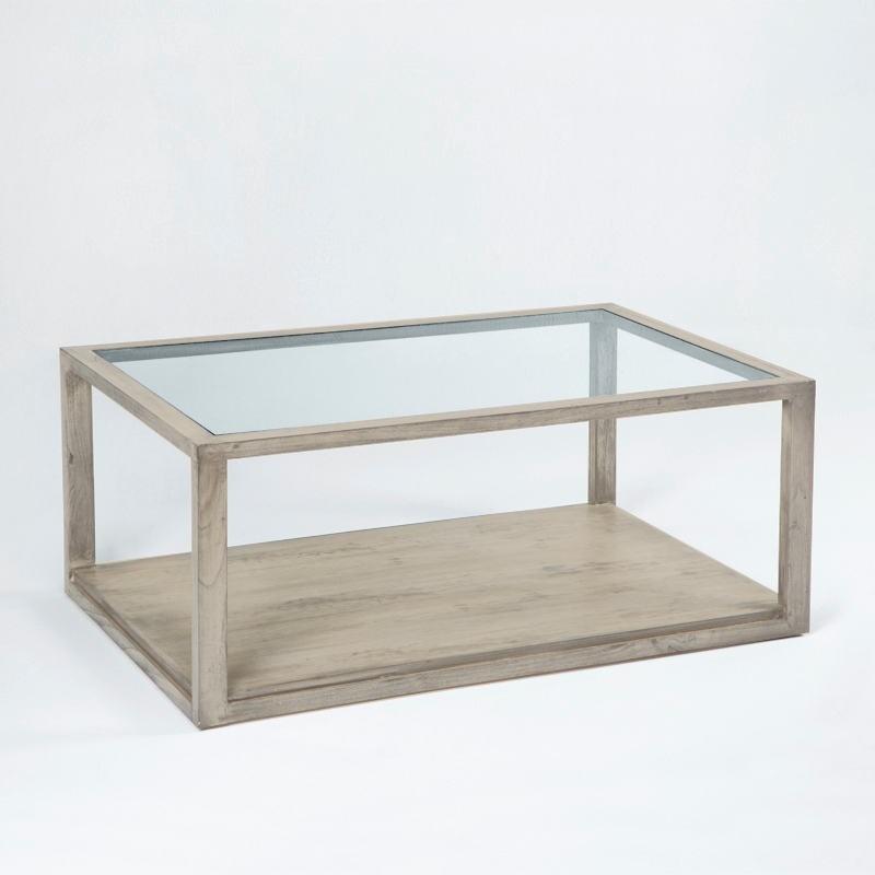 Table basse 110x70x45 Verre Bois Gris blanchi