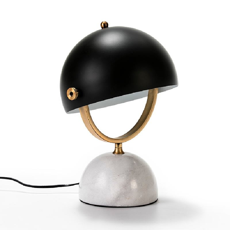 Table Lamp With Lampshade 28X24X40 Marble White Metal Golden Black - image 53491