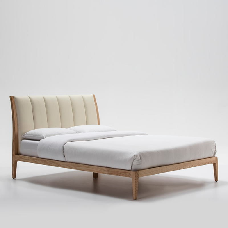 Bed 157X217X104 Ash Wood P.Leather Beige - image 53495