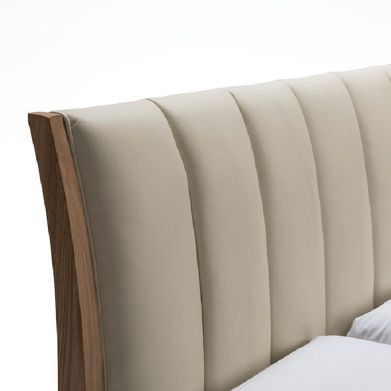 Bed 157X217X104 Ash Wood P.Leather Beige - image 53496