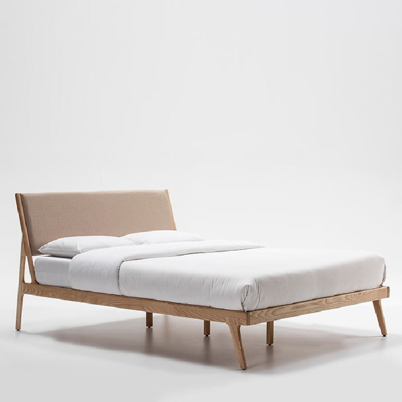 Bed 157X205X97 Ash Wood Linen Beige - image 53498