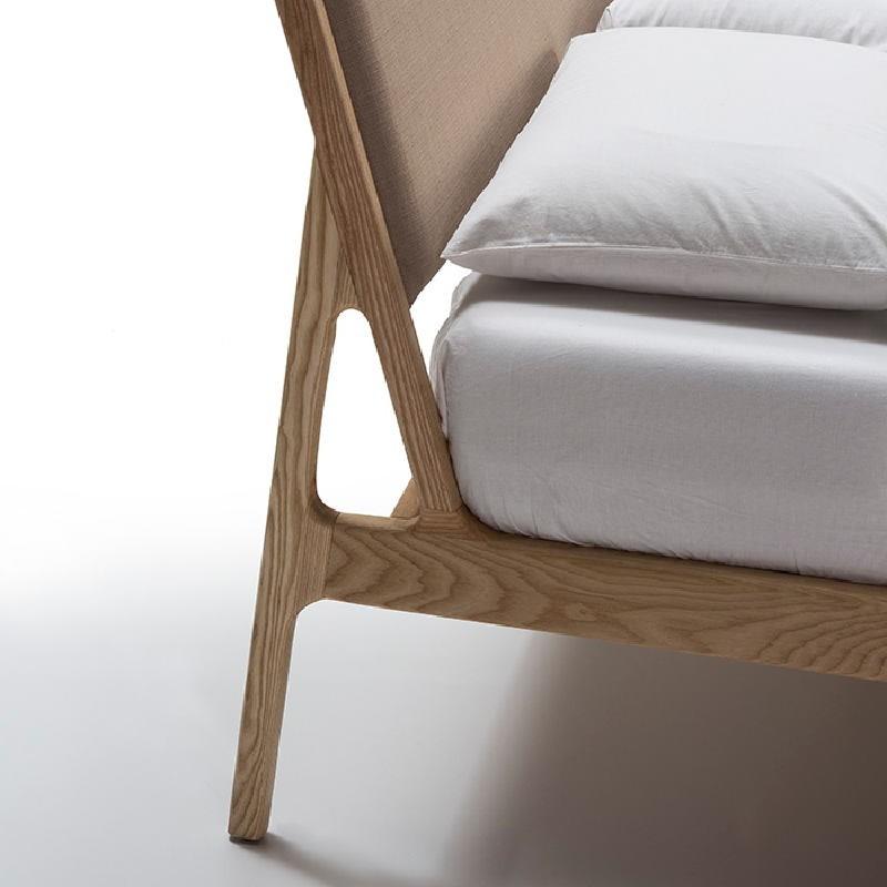Bed 157X205X97 Ash Wood Linen Beige - image 53499