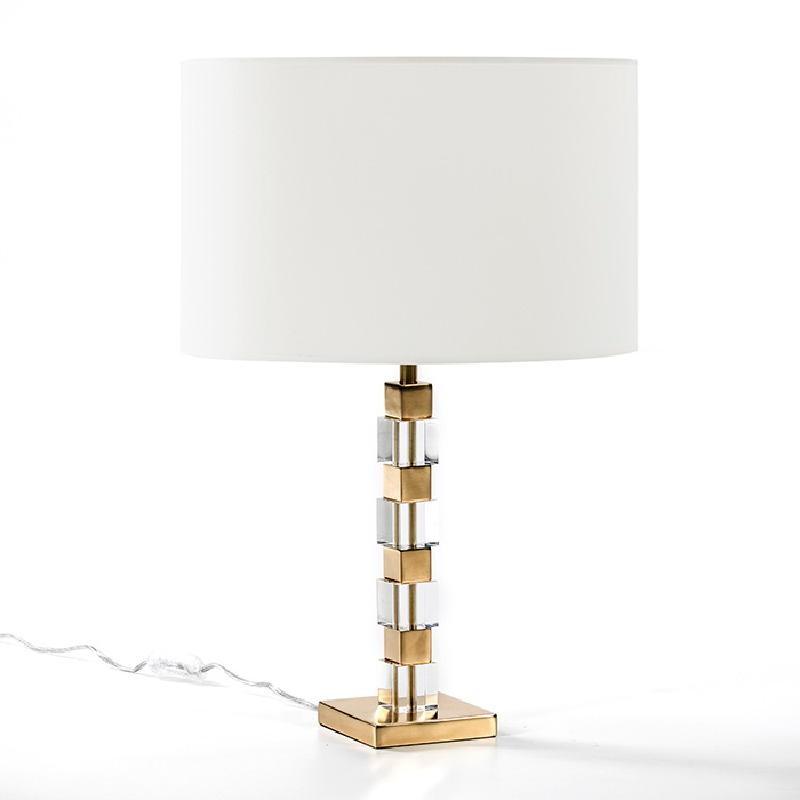 Lampe de Table sans abat-jour 12x12x42 Acrylique Métal Doré - image 53517