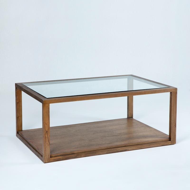Table basse 110x70x45 Verre Bois Marron