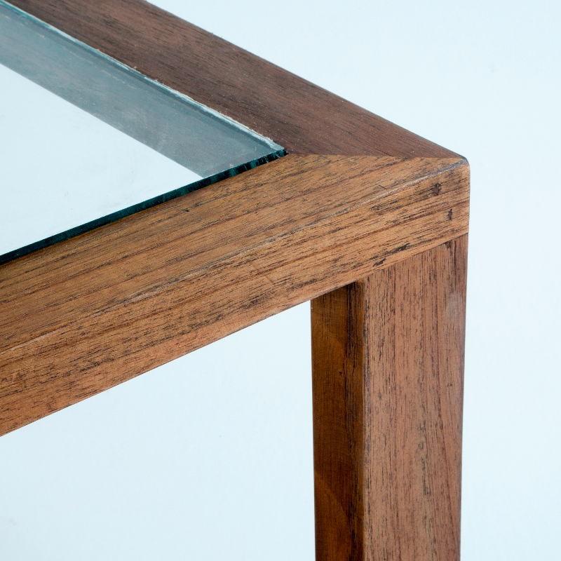Coffee Table 110X70X45 Glass Wood Natural Veiled - image 53593
