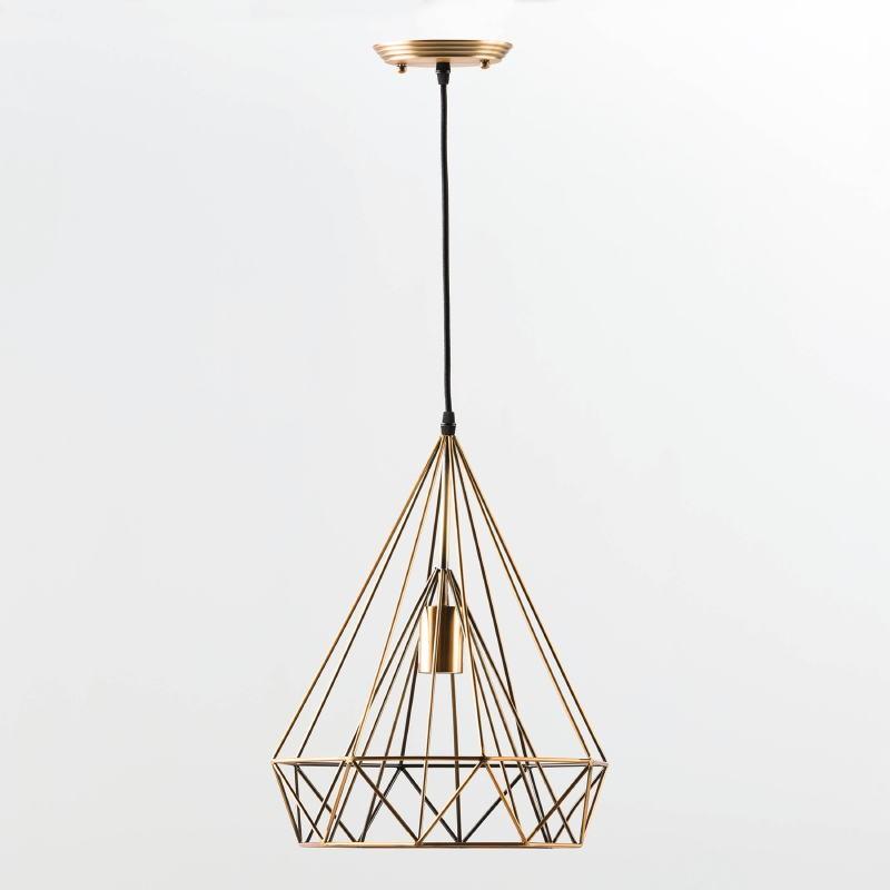 Hanging Lamp With Lampshade 30X42 Metal Bronze - image 53616