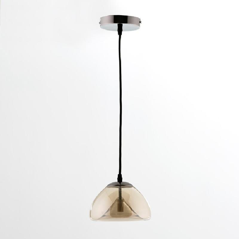 Lampada A Sospensione Con Paralume 20X14 Vetro Ambra