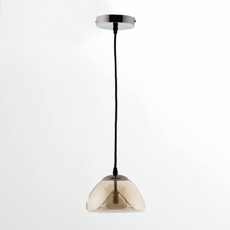 Lampada A Sospensione Con Paralume 20X14 Vetro Ambra - image 53627