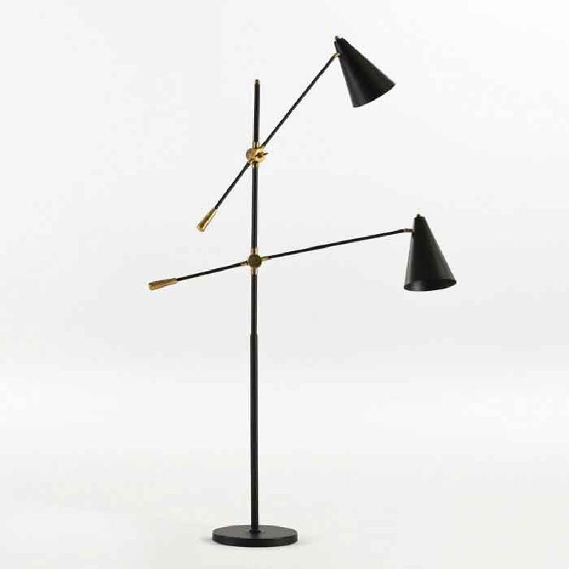 Lampadaire avec abat-jour 100x170 Métal Noir - image 53628