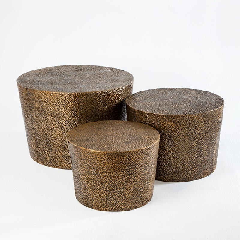 Set 3 Auxiliary Table 76X76X51   60X60X42   51X51X36 Metal Gold Black