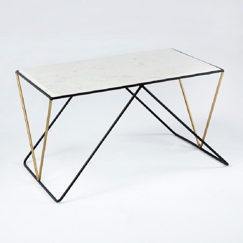 Coffee Table 76X51X43 Marble White Metal Black Golden