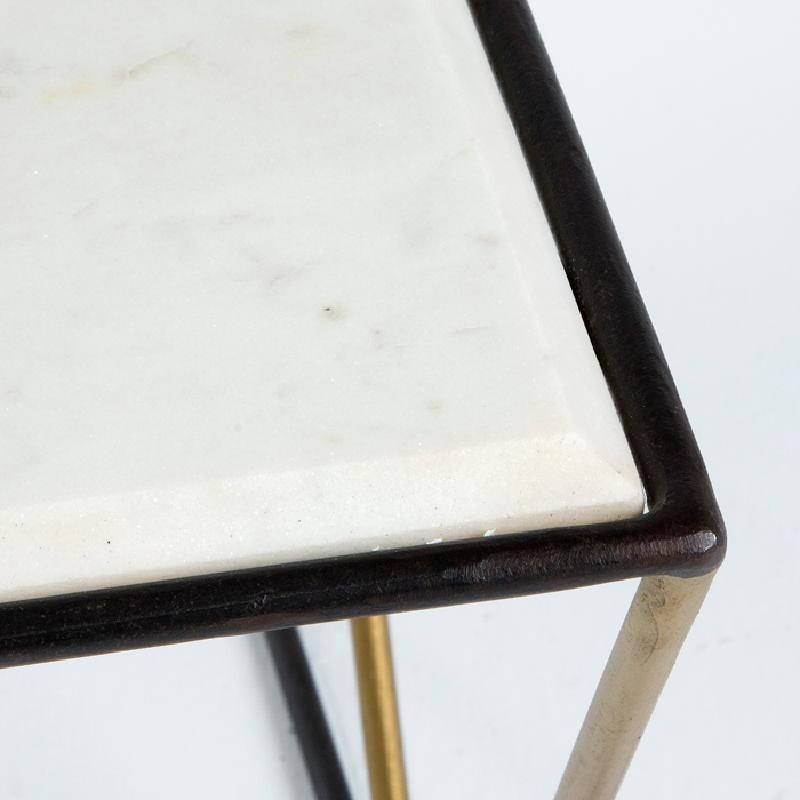 Table basse 76x51x43 Marbre Blanc Métal Noir Doré - image 53642