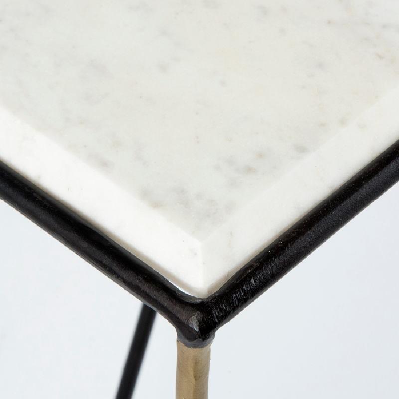 Consolle 89X33X76 Marmo Bianco Metallo Nero Dorato - image 53651